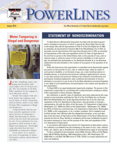 Meter Tampering is Illegal and Dangerous STATEMENT OF
