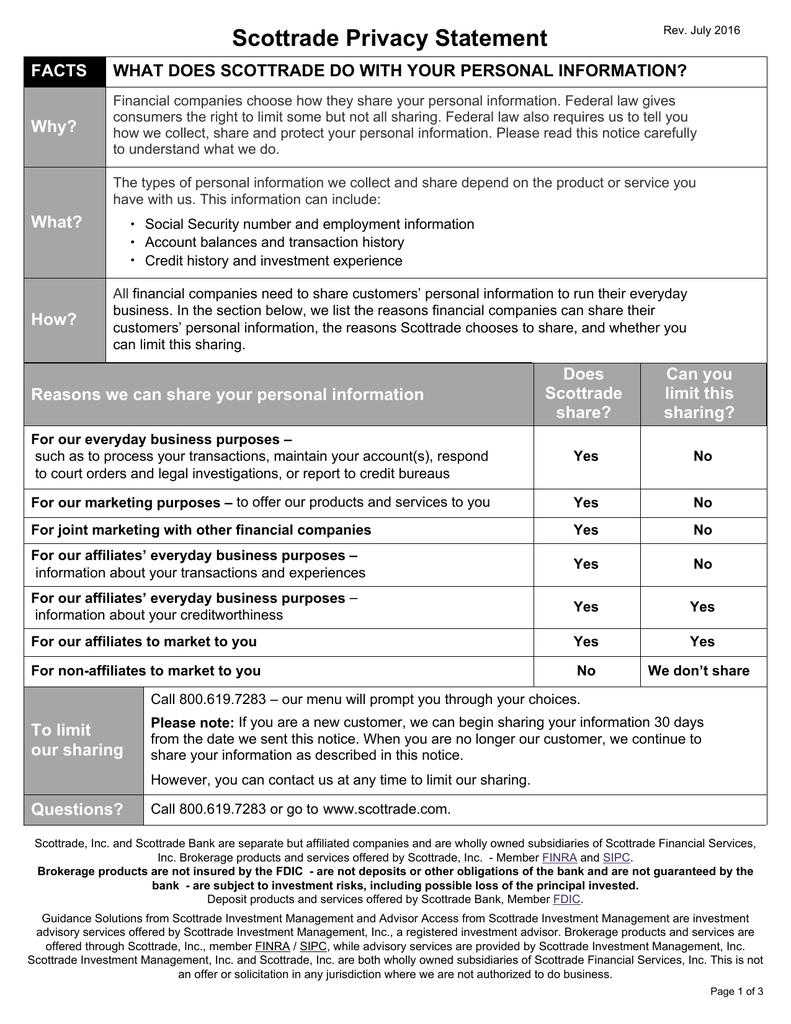 scottrade privacy statement rh studylib net Wiring- Diagram Wire Money