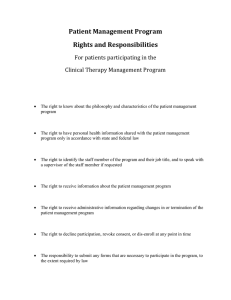 Patient Management Program Rights and