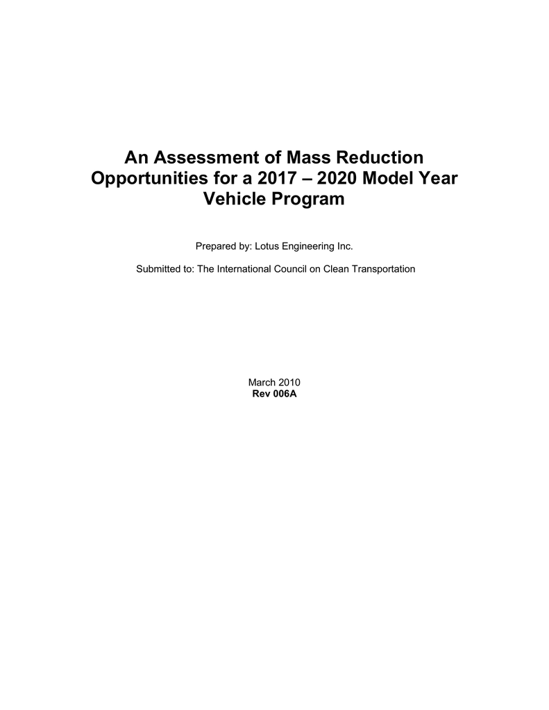 An Assessment of Mass Reduction Opportunities for a 2017