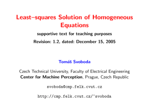 Least–squares Solution of Homogeneous Equations