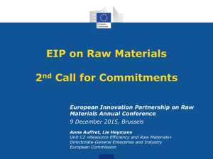 EIP on Raw Materials 2nd Call for Commitments
