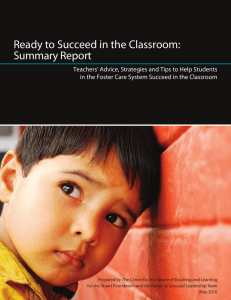 Ready to Succeed in the Classroom: Summary Report
