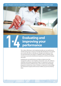 Topic guide 1.4: Evaluating and improving your performance