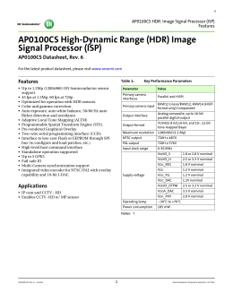 AP0100CS HDR Image Signal Processor (ISP)