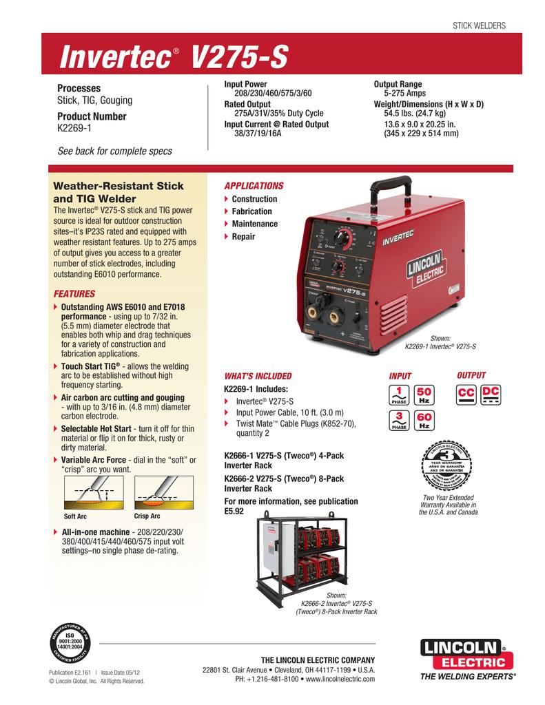 Invertec V275 S Product Info Lincoln Welder 275 Parts