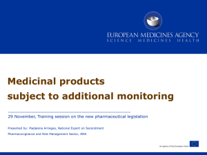 Presentation - Medicinal products subject to additional monitoring