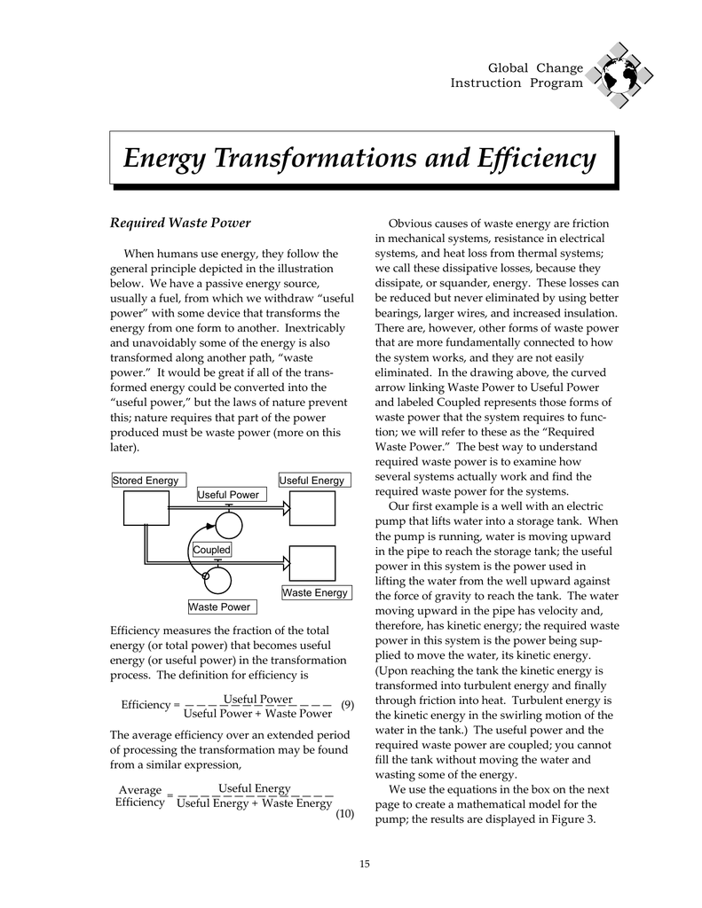 energy transformations and efficiency