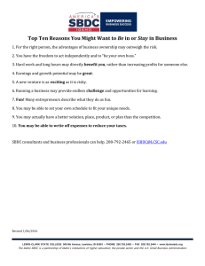 Top Ten Reasons You Might Want to Be in or Stay in Business