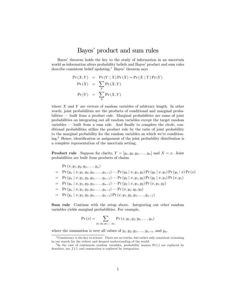 Bayes` product and sum rules