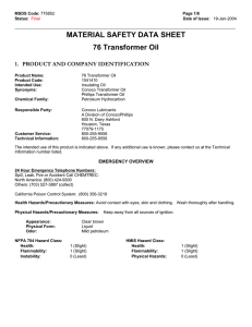 MATERIAL SAFETY DATA SHEET 76 Transformer Oil