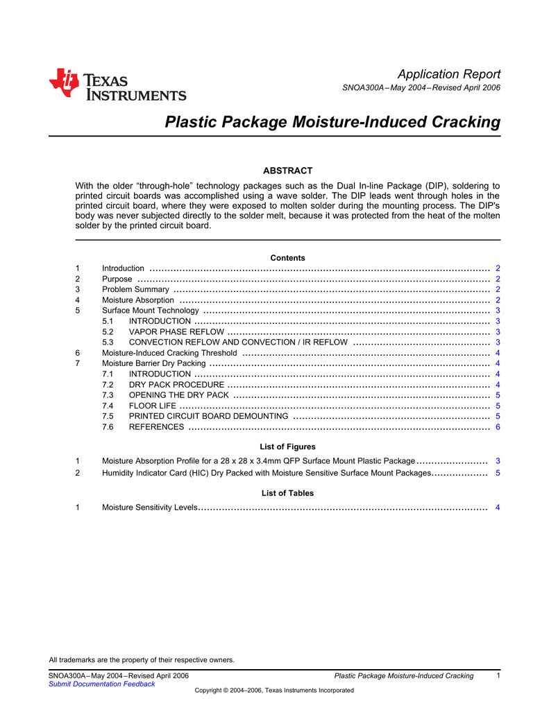 Plastic Package Moisture-Induced Cracking