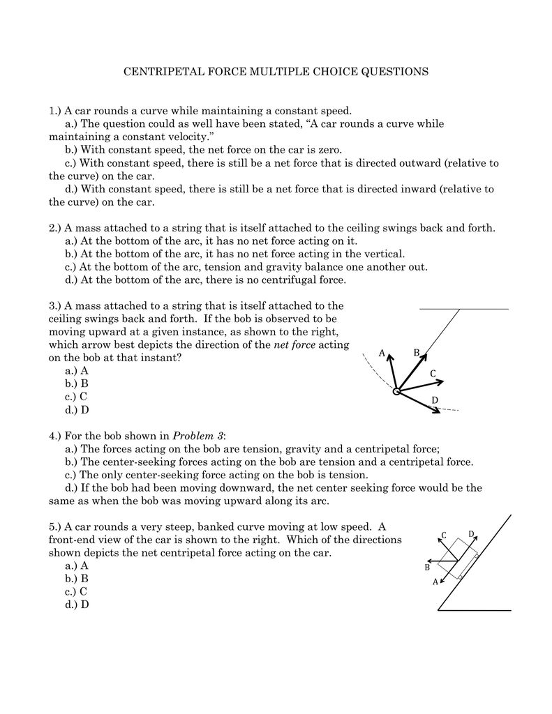 CENTRIPETAL FORCE MULTIPLE CHOICE QUESTIONS