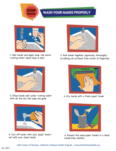 1. Wet hands and apply soap. Use warm running water