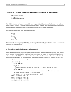 Tutorial 7: Coupled numerical differential equations in Mathematica