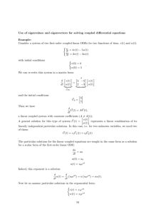 Use of eigenvalues and eigenvectors for solving coupled differential