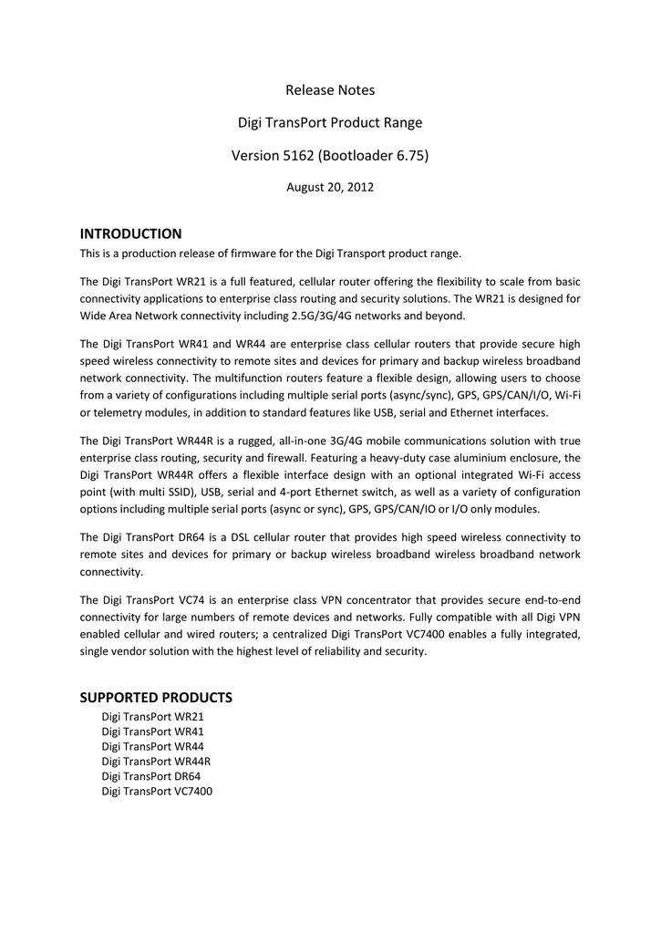 Digi TransPort Release Notes 5162