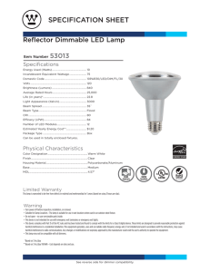 specification sheet - Westinghouse Lighting