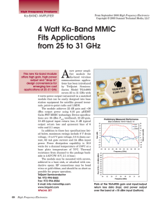 4 Watt Ka-Band MMIC Fits Applications from 25 to 31 GHz