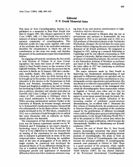 Editorial P. P. Ewald Memorial Issue