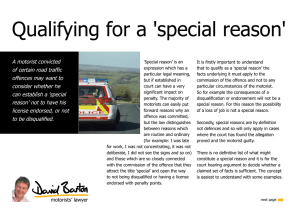 Qualifying for a `special reason`