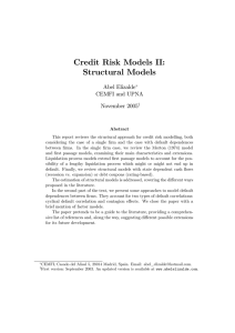 Credit Risk Models II: Structural Models