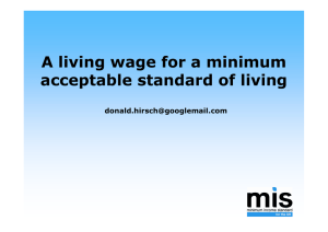A living wage for a minimum acceptable standard of living