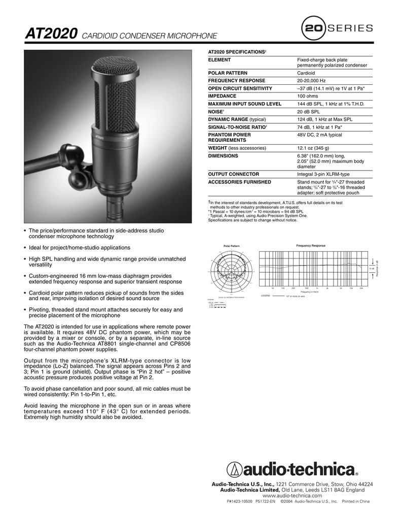 AT2020 CARDIOID CONDENSER MICROPHONE - Audio