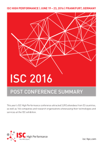 2016 Summary Report - ISC High Performance