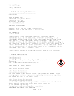Page 1 of 7 Tin-Lead Alloys Safety Data Sheet 1. Product and