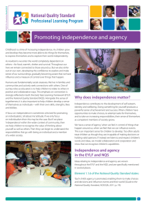Promoting independence and agency
