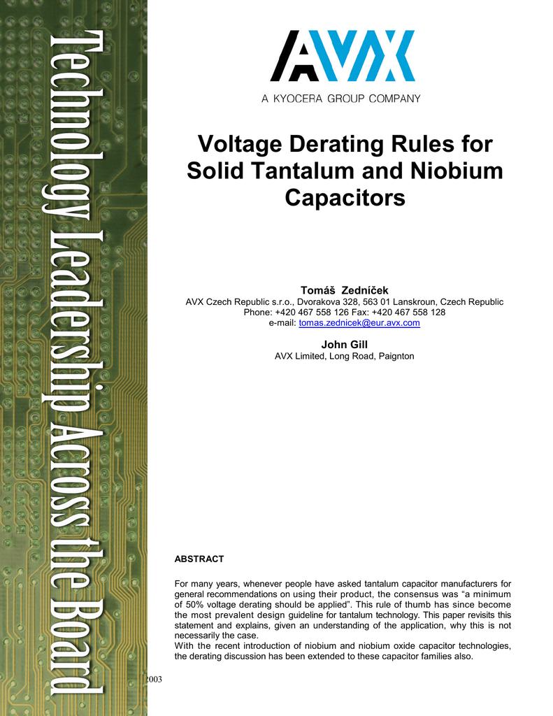 Voltage Derating Rules For Solid Tantalum And Niobium Capacitors Multiple Anode Capacitor 018201546 1 E00a39ac11ac233c0ed61e70a7451767