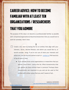 How to become familiar with at least ten organizations / researchers