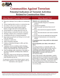 Potential Indicators of Terrorist Activities Related to Construction Sites