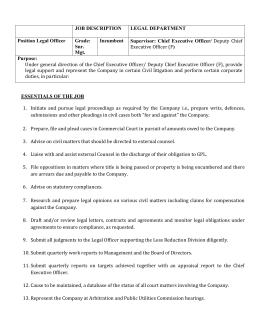 JOB DESCRIPTION LEGAL DEPARTMENT Position Legal Officer