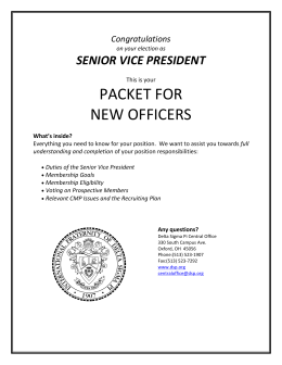 Duties of the Senior Vice President