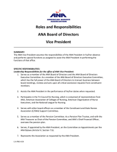 Roles and Responsibilities ANA Board of Directors Vice President