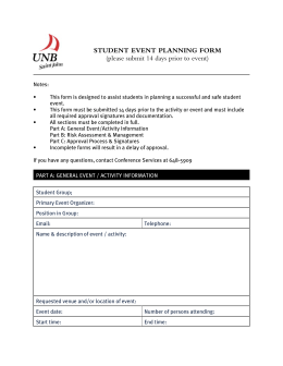STUDENT EVENT PLANNING FORM (please submit 14 days prior