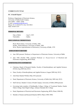 CURRICULUM VITAE Dr. Avinashi Kapoor Professor, Department of