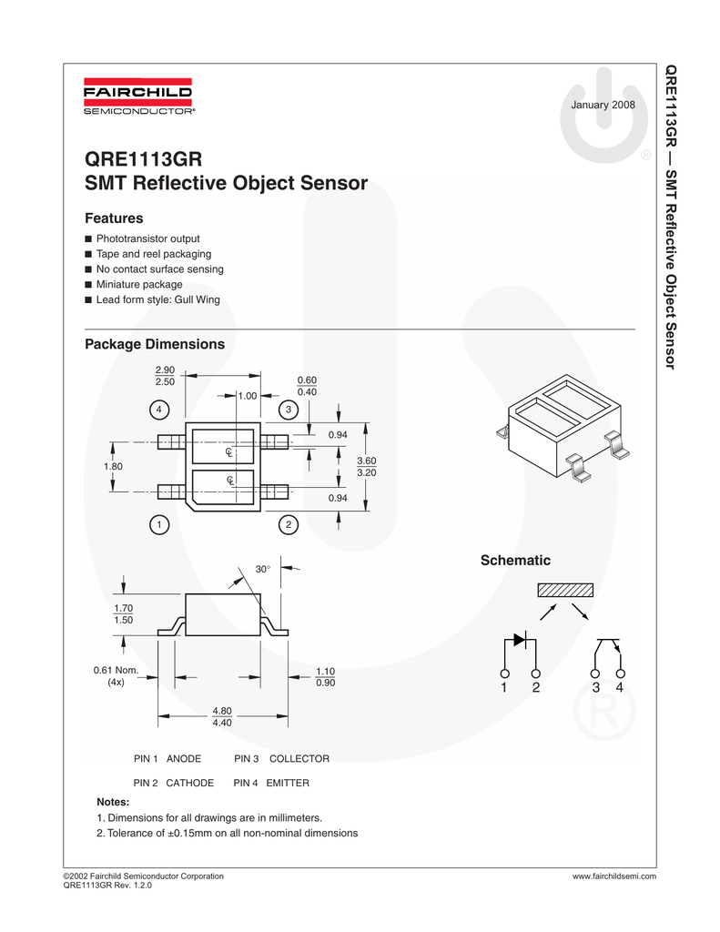 QRE1113GR SMT Reflective Object Sensor
