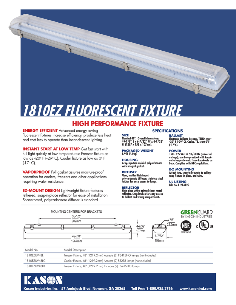 1810ez fluorescent fixture on