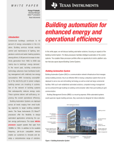 Building automation for enhanced energy and