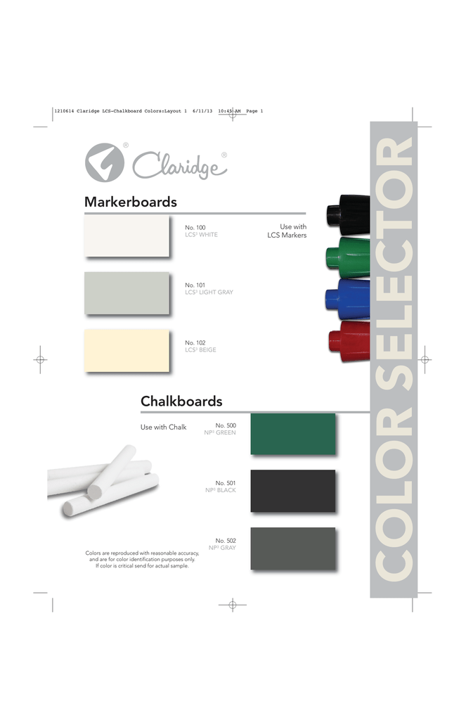 Markerboard and Chalkboard Color Chart