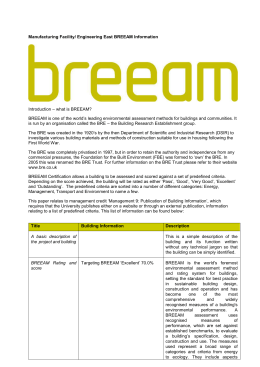 Manufacturing Facility/ Engineering East BREEAM Information