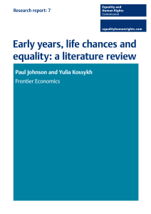 Early years, life chances and equality