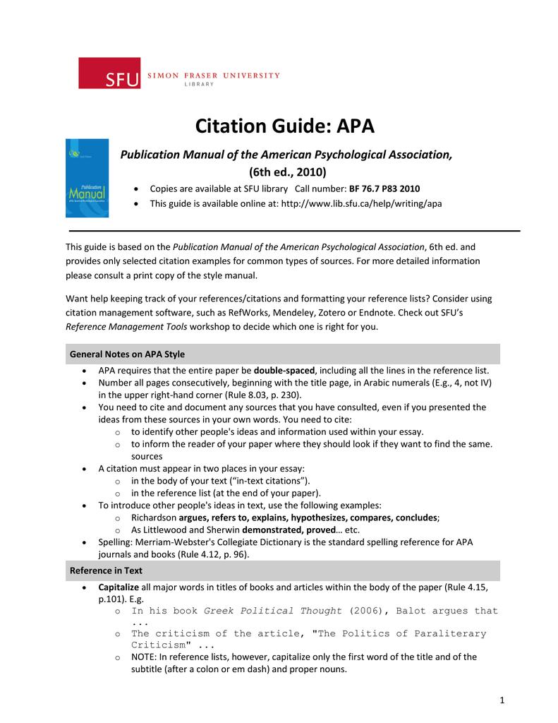 citation guide apa sfu library