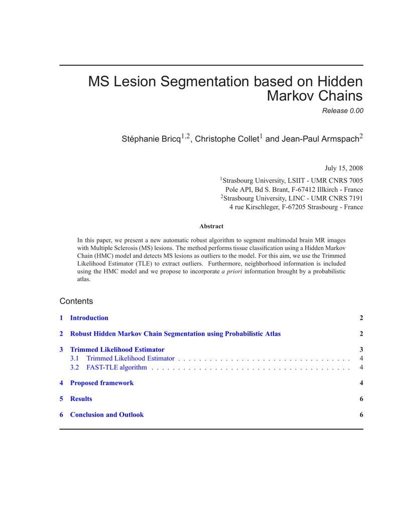 MS Lesion Segmentation Based On Hidden Markov Chains
