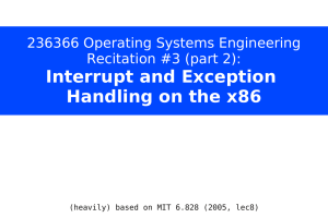 Interrupt and Exception Handling on the x86
