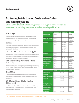 Achieving Points toward Sustainable Codes and - Industries