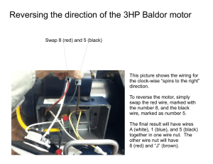 Reversing the direction of the 3HP Baldor motor